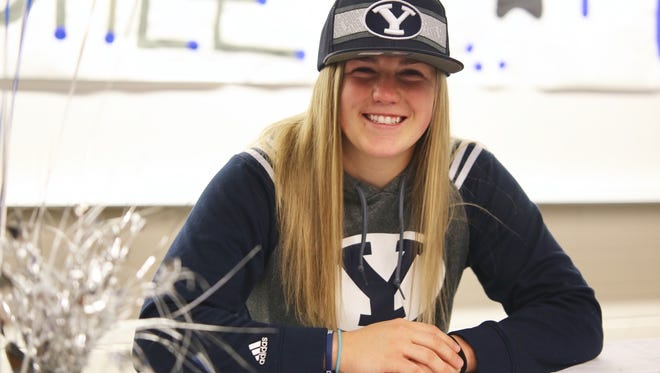 Desert Hills' Ashley Beckstrand signed her National Letter of Intent to play basketball at BYU next year. Beckstrand averaged 24.3 points per game last year.