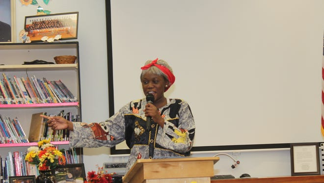 Northport K-8 sixth-grader Alicia Brown is regal as Harriet Tubman.