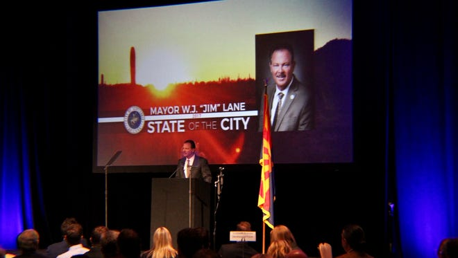 "Scottsdale Mayor Jim Lane delivered his ""State of the City"" address on Wednesday, Feb. 22, 2017 at the Scottsdale Resort at McCormick Ranch."