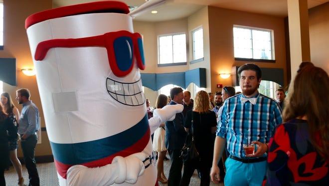 Rockline's mascot entertains guests at Sheboygan's YPWeek kickoff event on April 22.