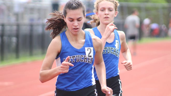 Rachel Wentnick and Camille Lussier lead Metuchen to a 1-2 finish in the Group I girls 3200.
