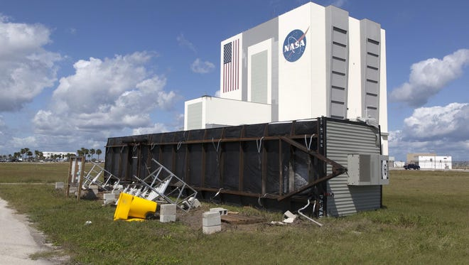 A trailer flipped on its side at the Turn Basin is seen during a survey of NASA's Kennedy Space Center on Sept. 12, 2017 for damage from Hurricane Irma. The storm passed Kennedy on Sept. 10.