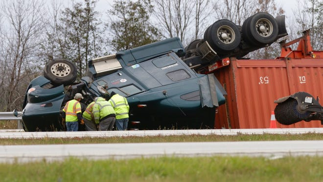 A semi-truck exiting Highway 23 onto Interstate 43 near Sheboygan flipped due to a wind gust Tuesday and overturned into the median.