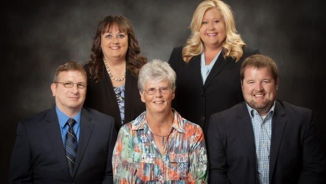 Members of the UCPS School Board, front row left to right: Donnie Gaten, Evelyn Meacham, Drennan Cowan. Back row, left to right: Jennifer Buckman and Melissa Whitsell.