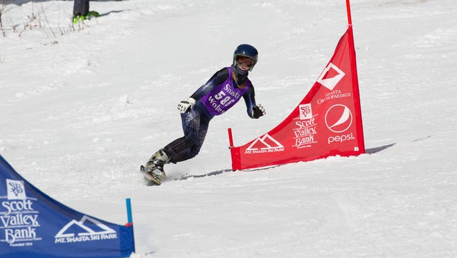 Sage Will of Shasta High School was girls snowboard winner for both slalom and giant slalom races.