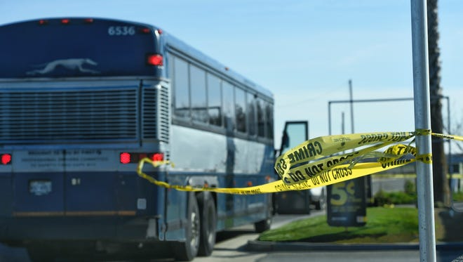 A woman was stabbed on a Greyhound bus heading north on Highway 99 between Tulare and Visalia.