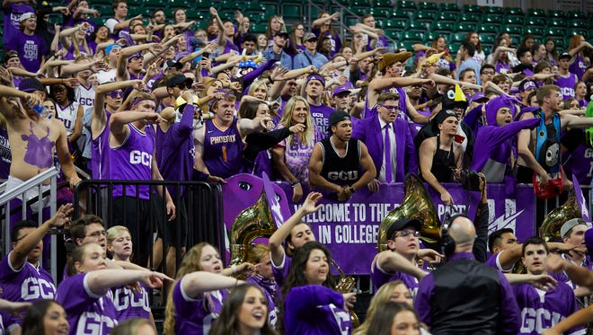 Grand Canyon University basketball team at the WAC Conference championship game.
