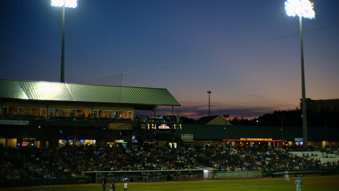 A view during a game between the Tennessee Smokies and Montgomery Biscuits at Smokies Stadium in Kodak, Tennessee on Friday, June 15, 2018.