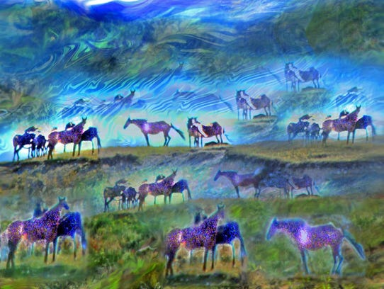 "Deeling Gregory's ""Horses on the Hill"" is on display"