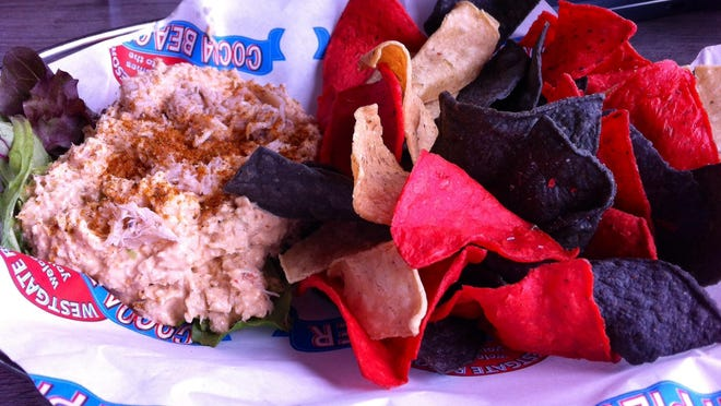 The crab and seafood dip ($8.95) at Pelican's Bar & Grill at the Cocoa Beach Pier was a wise choice, chunky in texture and slightly savory in flavor, it was more like a filling or spread than the usual semi-liquid dip.