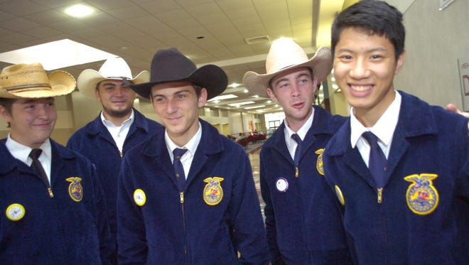 Avoyelles Parish FFA members attended the state convention at the Alexandria Riverfront Center June, 7, 2013. Members are from left, Jake Galland, Tristan Bordelon, Tyler Deaville, Grant Fisher, and Pete Techasamran.