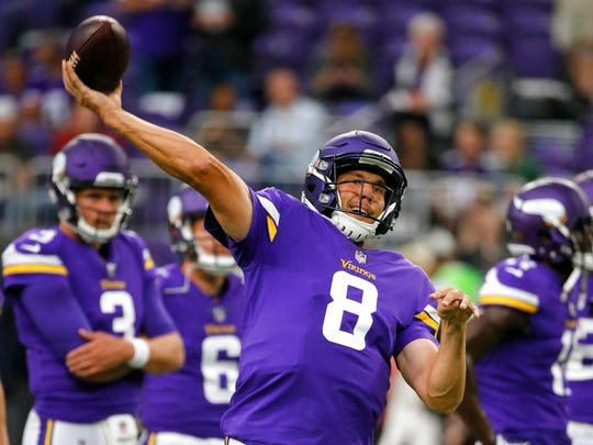 In this Aug. 27, 2017, file photo, Minnesota Vikings quarterback Sam Bradford warms up before an NFL preseason football game against the San Francisco 49ers, in Minneapolis. The Vikings have as much motivation for a turnaround as an NFL team could find. They're hosting the Super Bowl this season. But they've got a tall task ahead of them to achieve the goal of the star-crossed franchise's first championship.