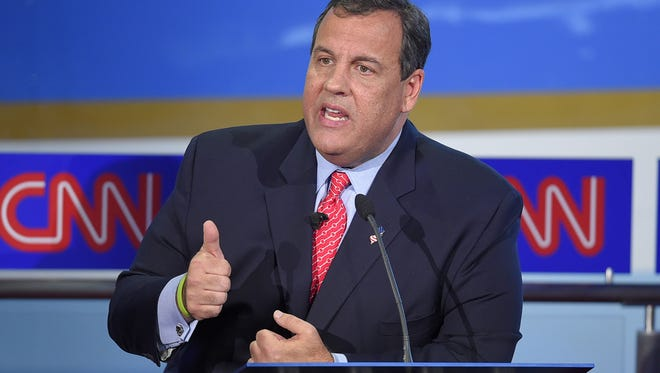 Republican presidential candidate New Jersey Gov. Chris Christie speaks during the CNN Republican presidential debate at the Ronald Reagan Presidential Library and Museum on Wednesday.