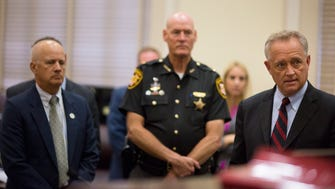 Sept. 7, 2016: Hamilton County Prosecutor Joe Deters, far right, asks Judge Robert Ruehlman to grant immunity to people who turn in heroin to local police departments in Hamilton County. Chief Assistant Prosecuting Attorney Mark Piepmeier, left, and Sheriff Jim Neil, center, as well as Hamilton County Coroner Dr. Lakshmi Sammarco and Hamilton County Heroin Coalition member Dennis Deters, appeared in court.