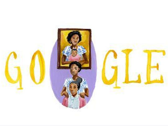 Arantza Pena Popo's design was the Google Doodle for Tuesday. At the bottom, she depicts herself and her mother; in the framed picture above, her mom caring for her own mother.
