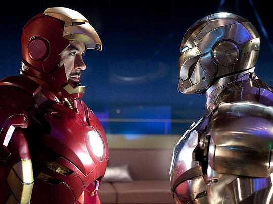 "Robert Downey Jr. in a scene from ""Iron Man 2."""