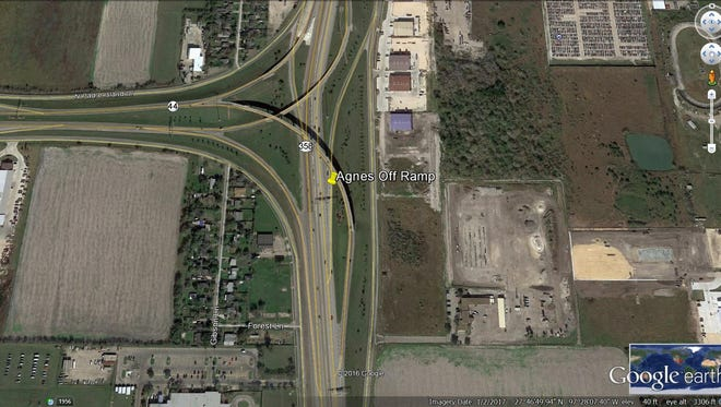 The Agnes Street exit on the westbound side of State Highway 358 will be closed temporarily on Wednesday, April 19, 2017.