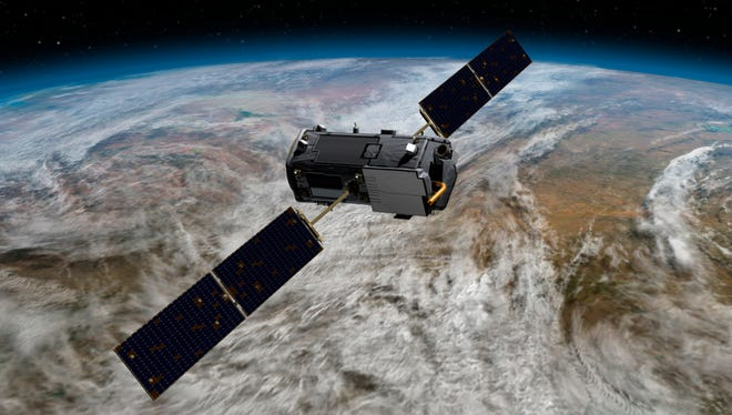 This artist concept rendering provided by NASA shows their Orbiting Carbon Observatory (OCO)-2.  (AP Photo/NASA/JPL-Caltech) ORG XMIT: LA303