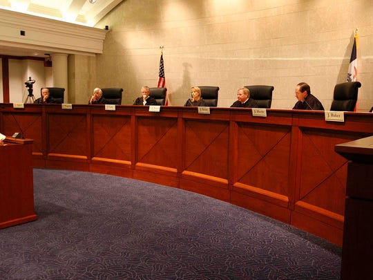 The Iowa Supreme Court listens to oral arguments, here by attorney Roger Kuhle, in the Varnum v. Brien case, Tuesday, Dec. 9, 2008.