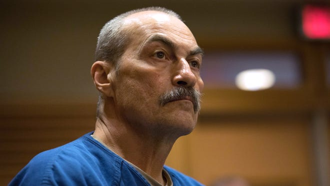 The case involving Richard Beranek, 58, is among 13 in Wisconsin which the FBI acknowledges it used flawed microscopic hair comparison. Beranek is awaiting a decision by Dane County Circuit Judge Daniel Moeser about whether he will get a new trial. He was convicted in 1990 of sexually assaulting a rural Stoughton woman and is serving a 243-year sentence. Beranek is pictured in a Dane County courtroom on Feb. 14, 2017.