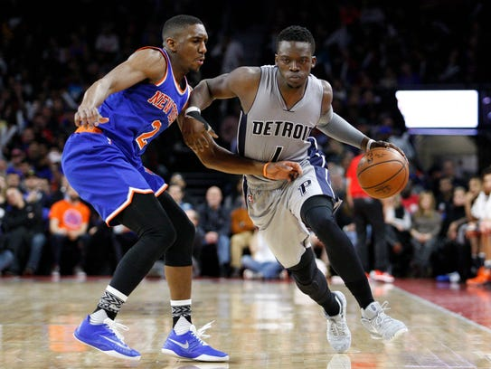 Pistons guard Reggie Jackson (1) gets defended by Knicks