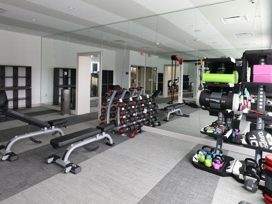 A gym on the second floor at Continuum, a new 16-story