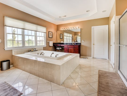 The Master bath has your personal whirlpool tub.