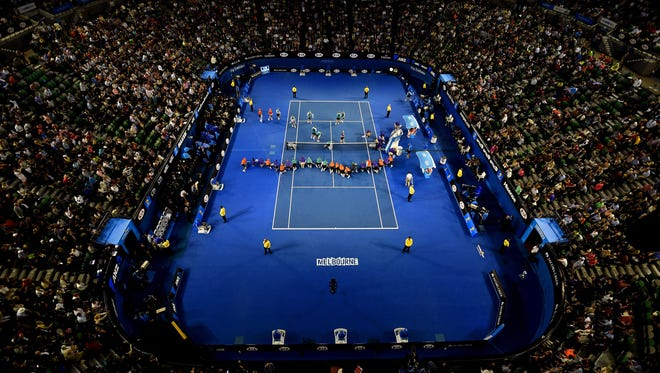 A general view of the Australian Open  in Melbourne, Australia, on Jan. 21, 2015.