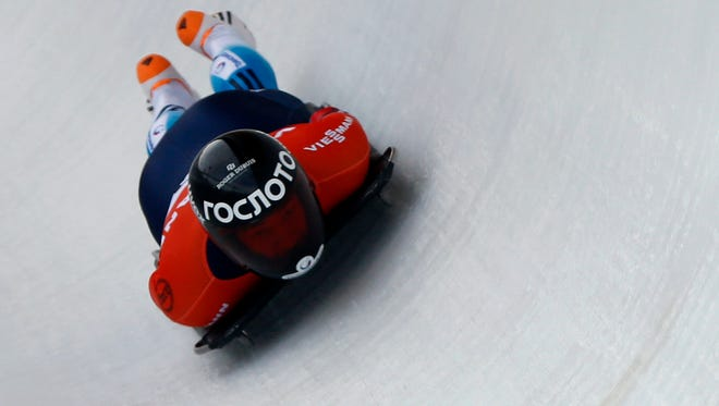 First place finisher Alexander Tretiakov of Russia during the IBSF men's skeleton World Cup at Utah Olympic Park.
