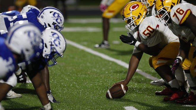 Clarke Central lines-up with Oconee County during an GHSA high school football in Watkinsville, Ga., on Friday, Sept. 18, 2020. Oconee County won 24-7.