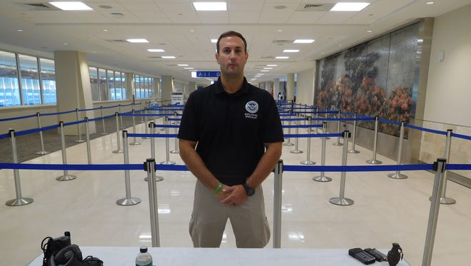 Mark Chapman, explosives expert with TSA, discusses safety procedures Tuesday at Greenville-Spartanburg International Airport.