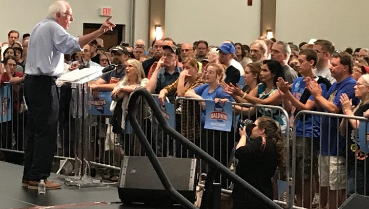 Tammy Baldwin makes outstate push appearing alongside Bernie Sanders at Eau Claire rally