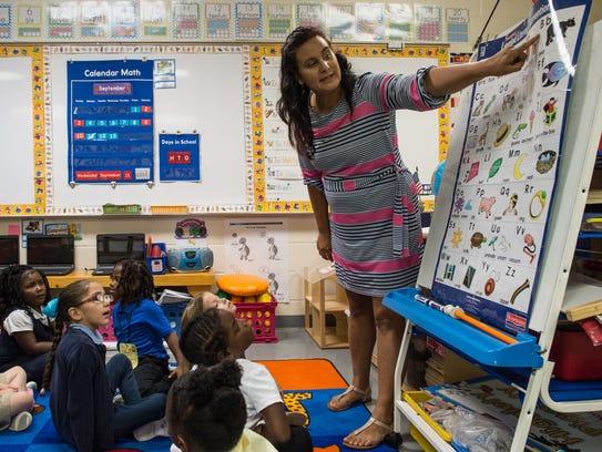 Chipman Elementary teacher Danielle Thompson uses a
