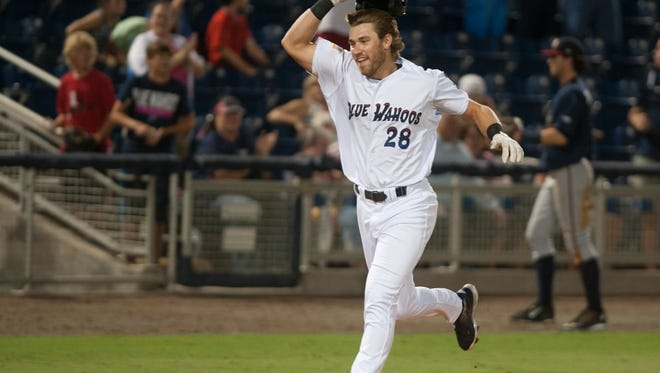 Taylor Sparks heads home after hitting a walk-off home run in the bottom of the 11th inning during the Mississippi Braves vs. Blue Wahoos baseball game at Blue Wahoos Stadium in Pensacola, FL on Monday, July 11, 2016.
