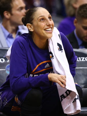 Phoenix Mercury star Diana Taurasi enjoying her team's 42-point lead over the Dallas Wings in the second half on Saturday, May 27, 2017 at Taking Stick Resort Arena in Phoenix, Ariz.