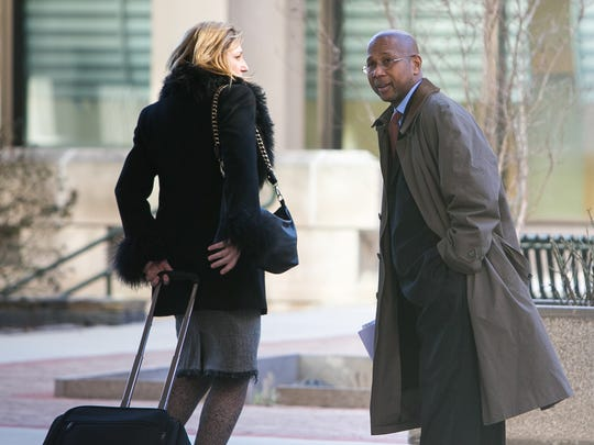 David Matusiewicz's lawyers Edson Bostic (right) and Dina Chavar leave the Federal Courthouse as Amy Gonzalez and David Matusiewicz were sentenced to life in U.S. District Court in Delaware.