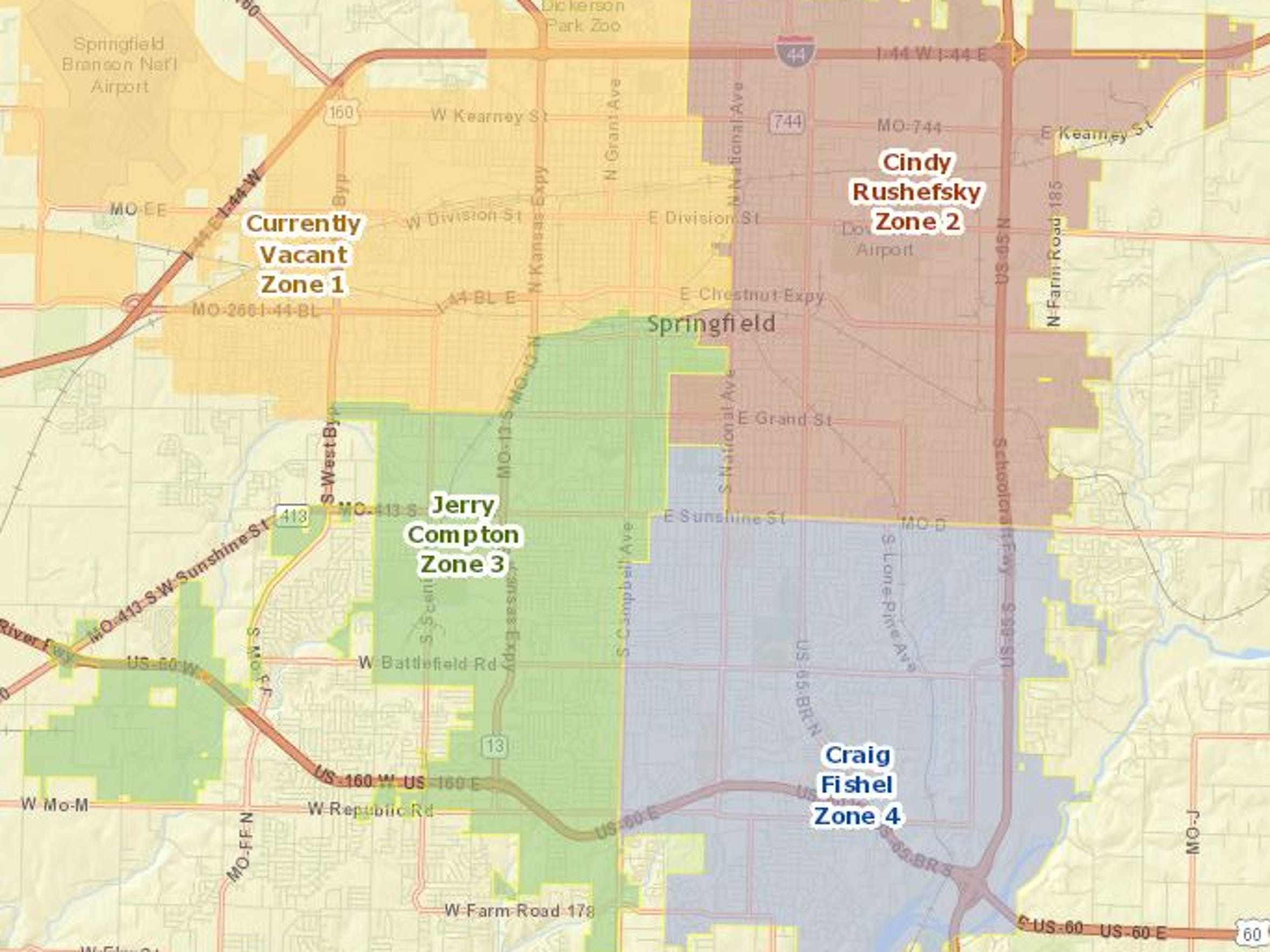 Springfield City Council seat zones