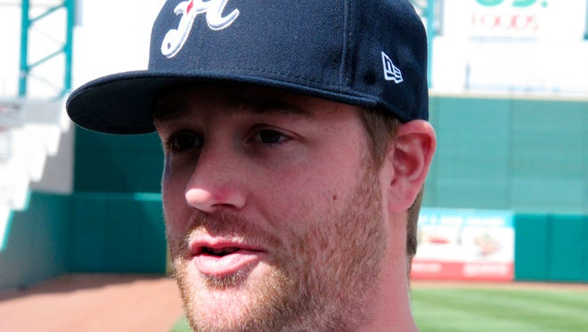 Reno Aces pitcher Archie Bradley, one of the Arizona Diamondbacks' top minor league prospects, talks to reporters during the Triple-A baseball team's media day at Aces Ballpark in Reno, Nev on Tuesday, April 1, 2014.