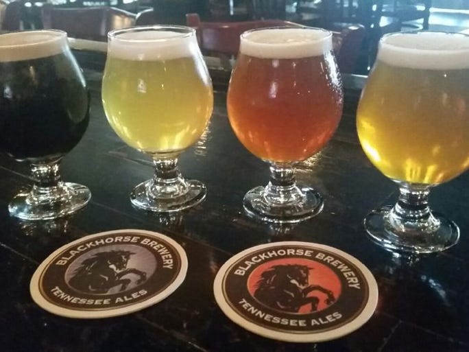 Blackhorse Pub and Brewery is one of Knoxville's oldest breweries located at 4429 Kingston Pike. They offer a wide variety of local brews. From left, Coffee Milk Stout, Vanilla Cream Ale, Barnstormer Red, IPA. Special to the News Sentinel