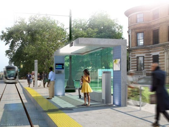 Rendering of a station being built for M-1 Rail's QLINE on Woodward Avenue.