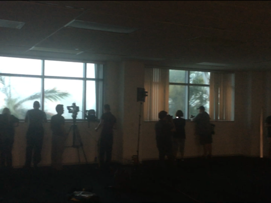 Journalists at the storm