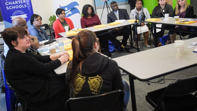 Parents and educators meet for a roundtable discussion in Lafayette Wednesday on various aspects of school choice as part of National School Choice Week.