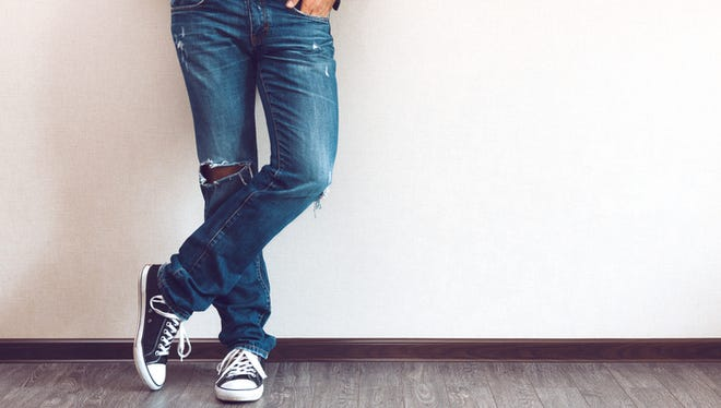 Ripped jeans are always in style.