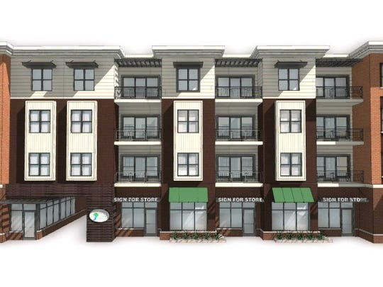 The front of the 304 River Edge Apartments, facing West Grand River Avenue in Williamston. The bottom floor will consist of commercials space; the top three stories will be apartments.