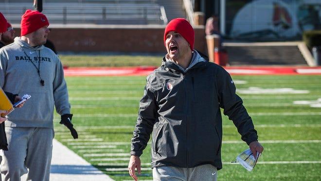 Coach David Elson during practice at Scheumann Stadium Thursday, March 16, 2017.