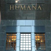 Humana Tower at Fifth and  Main streets in Louisville.
