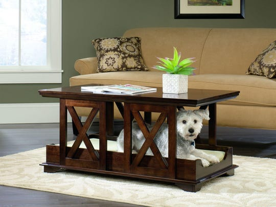 This coffee table is part of the Sauder Pet Home furniture line.