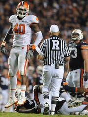 Clemson defensive end Andre Branch (40) reacts after sacking Auburn quarterback Cam Newton (2) during the 4th quarter Saturday,September 18, 2010 at Auburn's Jordan-Hare Stadium in Auburn, Al. Bart Boatwright/Staff