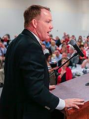 Nebraska athletic director Shawn Eichorst speaks during