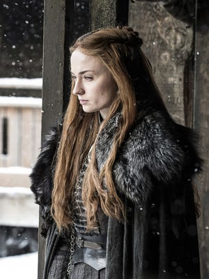 "Sophie Turner as Sansa, in HBO's ""Game of Thrones,"" during the second episode of Season 7. Last Sunday's episode showed friction between Sansa and Arya."